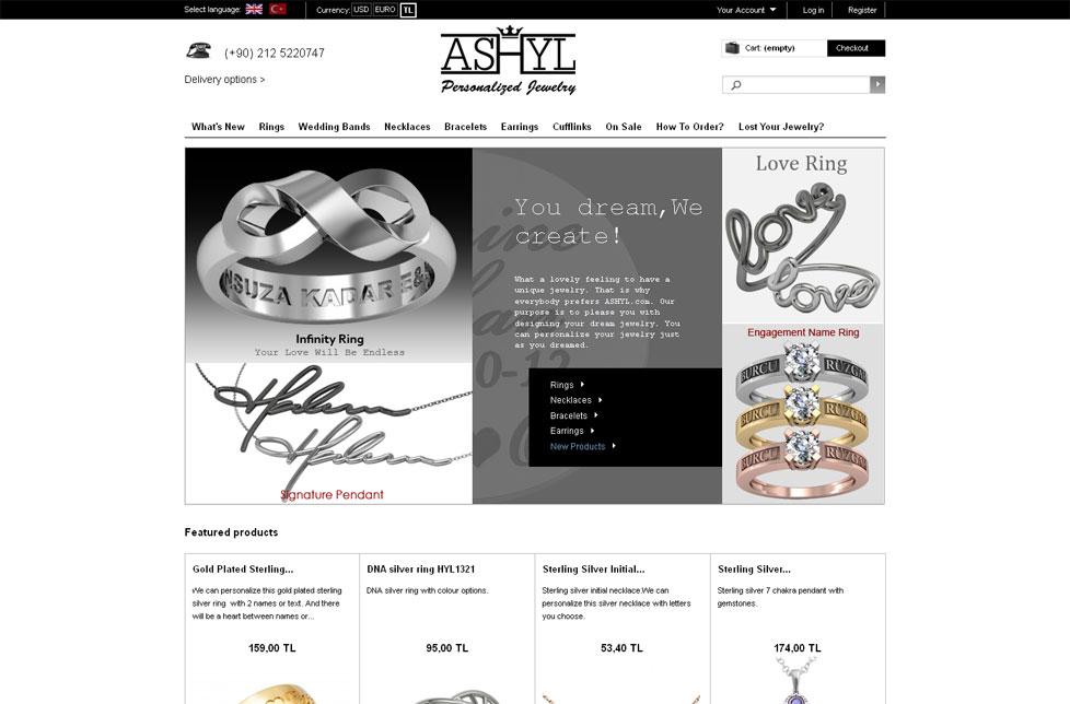 screenshot e-shop Ashyl e-shop na systému PrestaShop